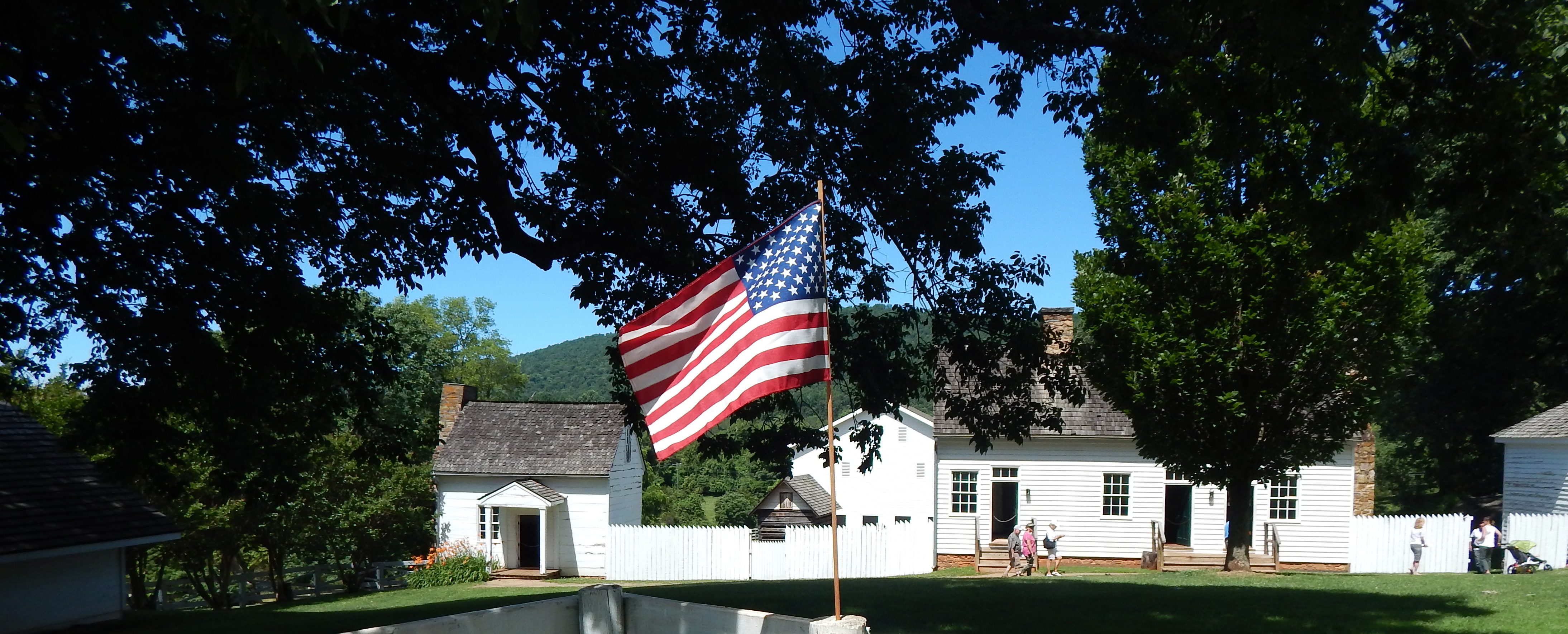 American flag and service outbuildings
