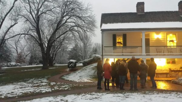 tour group outside in snow